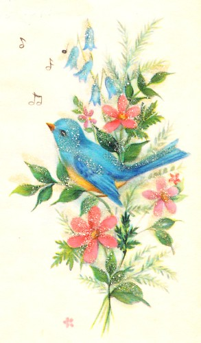 Bird From Vintage Greeting Card Bluebird Image From A