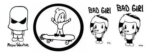 She Skates Skater Girl B-Pop Skateboard Pee Wee Coloring B