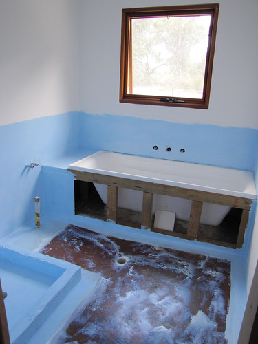 Guest Bathroom Waterproofing  Strawbale House Build in Re