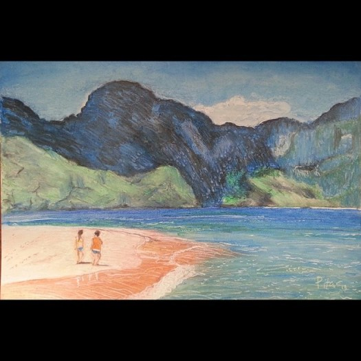 Mountain and sea. Oil pastel on board. 20x30 inches. December 17, 2013 #drawing #painting #beach #elnido