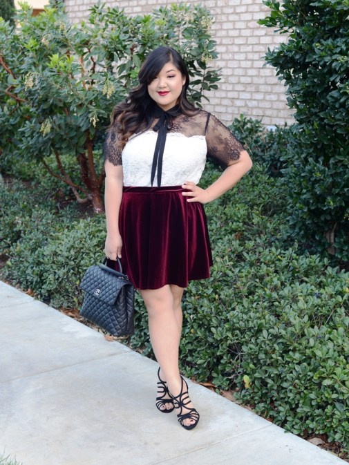 Curvy Girl Chic ELOQUII lace top velvet skirt 1