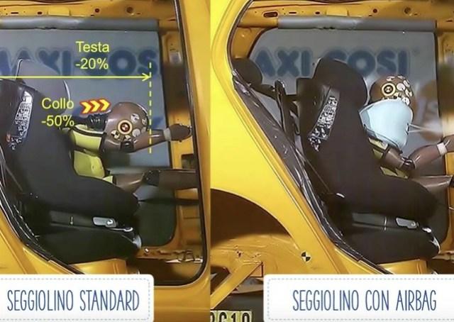 bambini in auto -airbag seggiolino