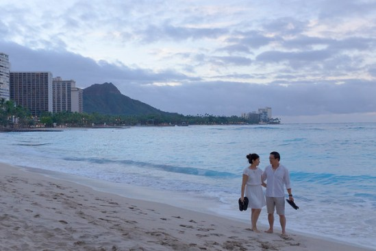 Couple Walking on Beach - Waikiki Hawaii