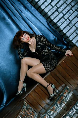 Black short transparent dress high heels shiny pantyho
