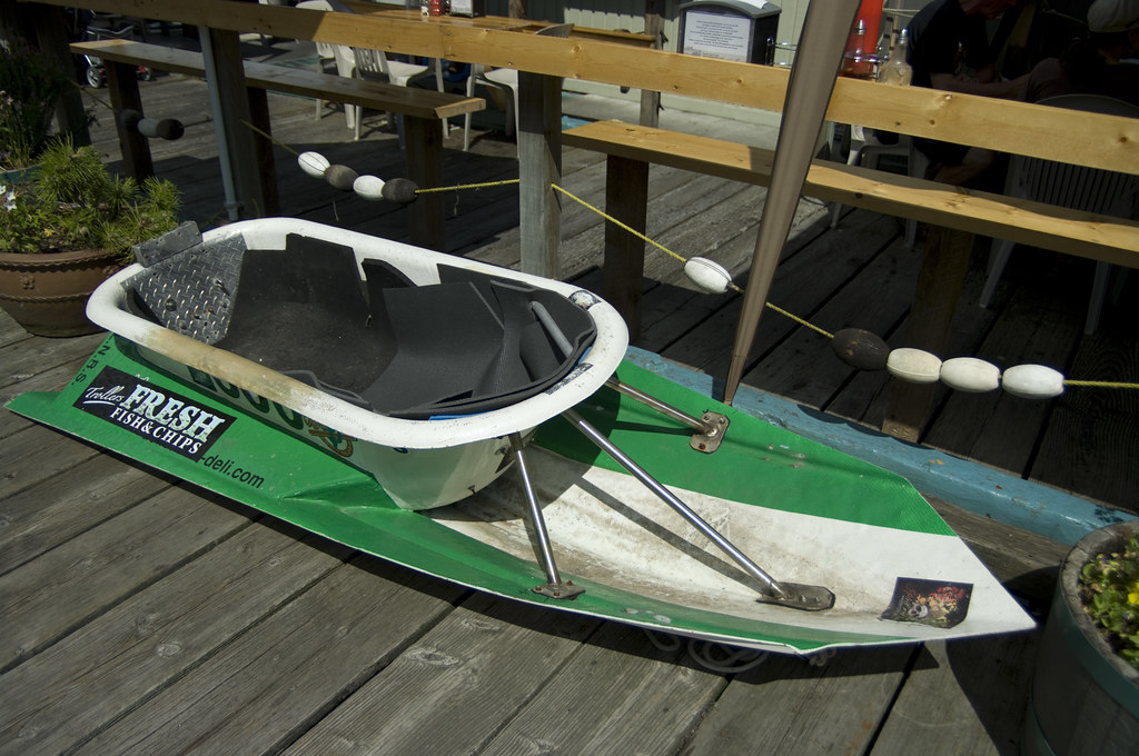 Bathtub Racing Boat Outside One Of The Dockside Pubs In