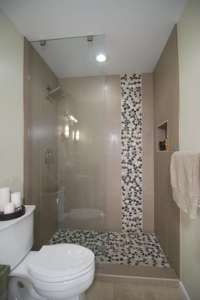 River Stone Tile Pattern Shower Bathroom Remodel  Bathroom   Flickr