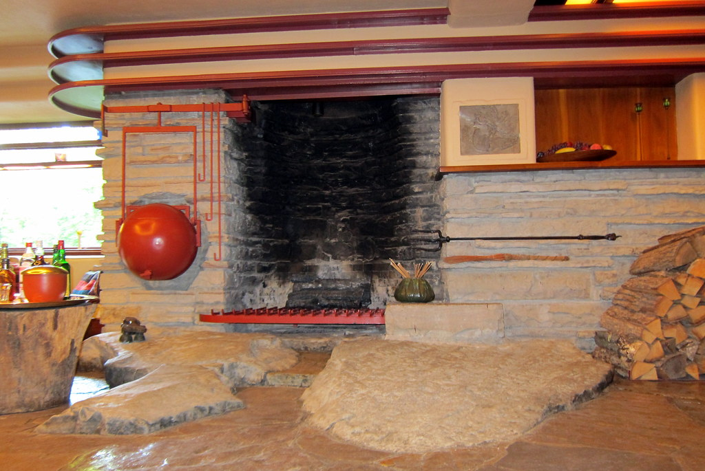 PA  Mill Run Fallingwater  Living room fireplace and ke