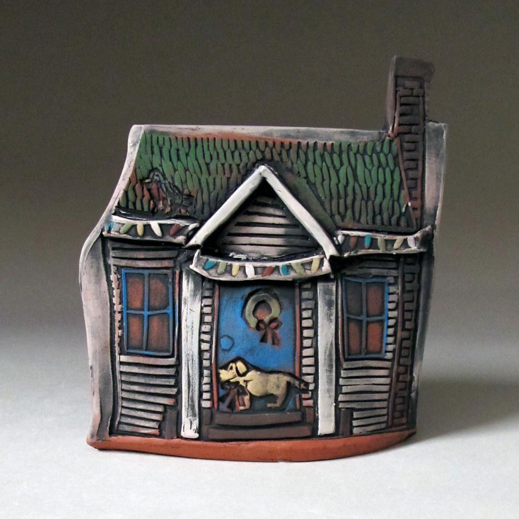 Ceramic Miniature Christmas House with Dog  Miniature ceram  Flickr
