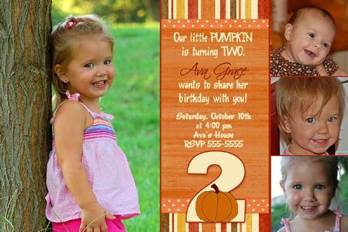 Little Pumpkin 1st 2nd 3rd Birthday Invitation Photo Car