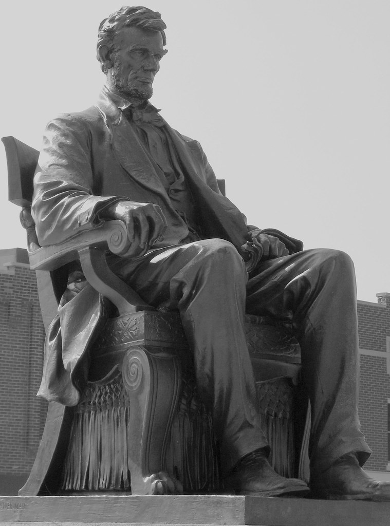 Abraham Lincoln Statue BW  Hodgenville KY  One of the