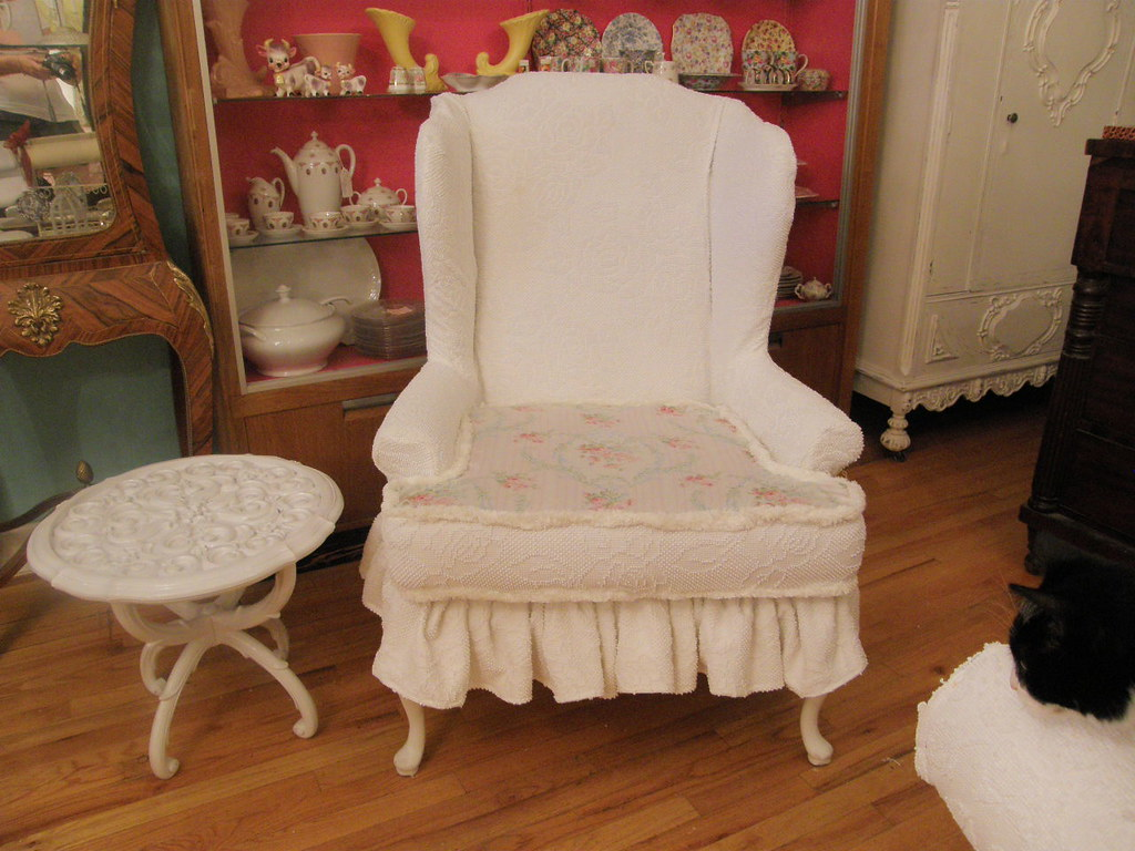 country style wingback chairs chair head covers white ruffle wing back shabby chic chenille bedsprea