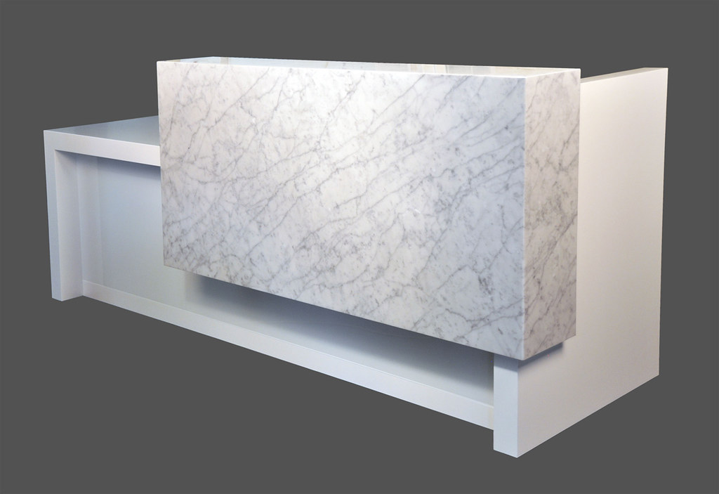Kubist reception desk with white marble front  arnold