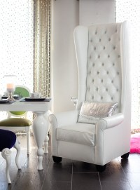 4186 TALL WINGBACK CHAIR UPHOLSTERED IN WHITE CROCO AND TU