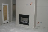Drywall Gas start wood burning fireplace | This is a wood ...