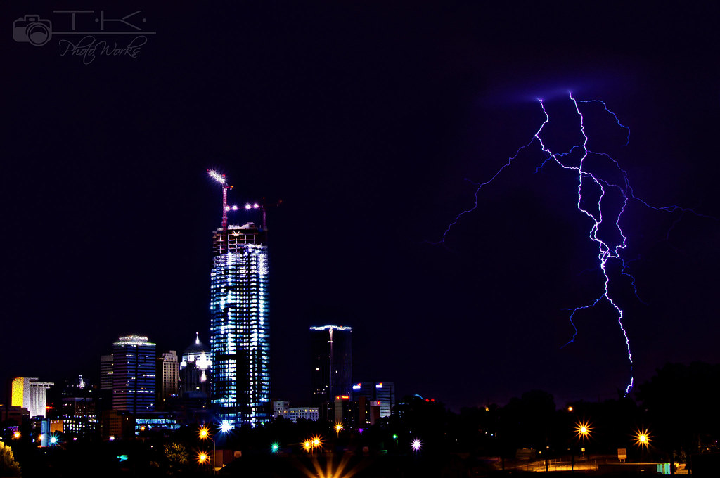 Downtown Oklahoma City REAL Lightning  Went out on July