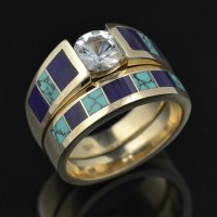 Sugilite and Spiderweb Turquoise Wedding Ring Set | Flickr ...
