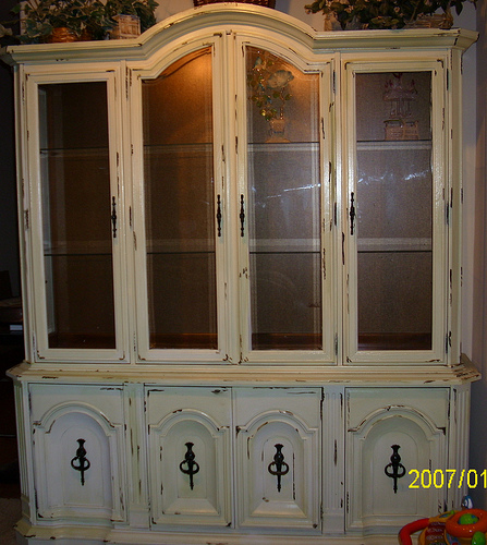 Hand Painted Shabby Chic Style China Hutch Refurbished
