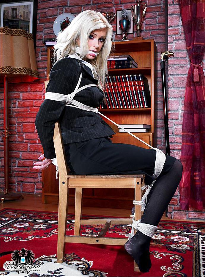 Blonde secretary BCBG tiedup classical black dress code