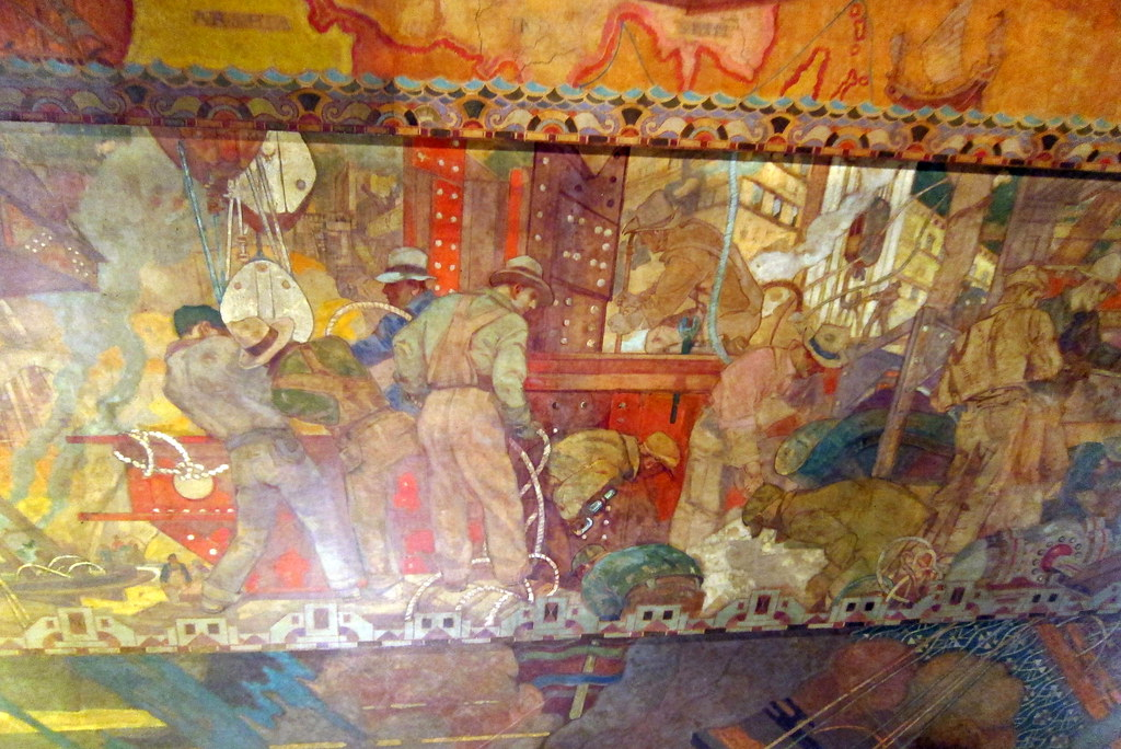 NYC  Midtown Chrysler Building  ceiling mural  The