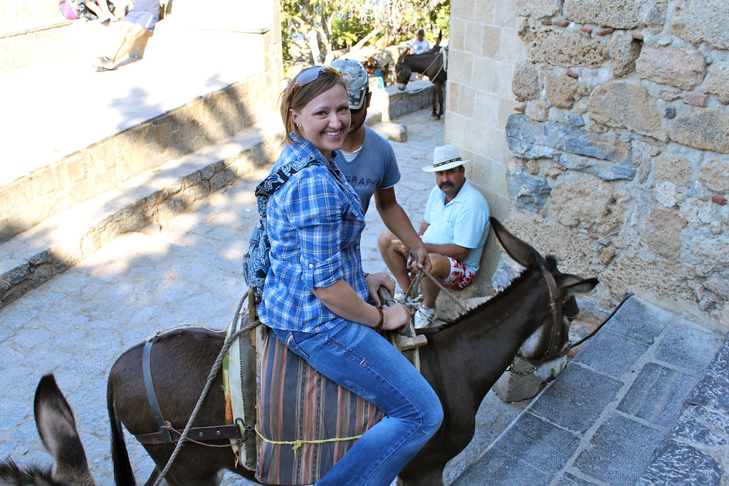 Lindos - Taking a ride back down on Margherita the donkey.
