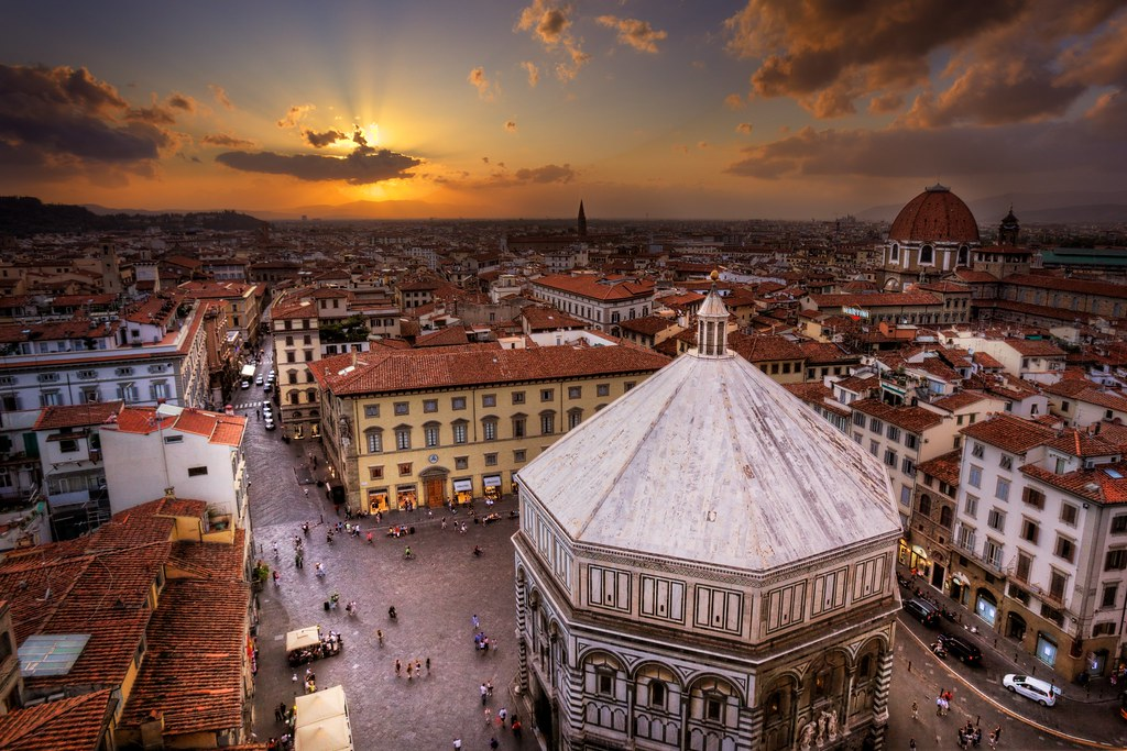 Piazza Del Duomo at Sunset with Baptistry Florence Italy