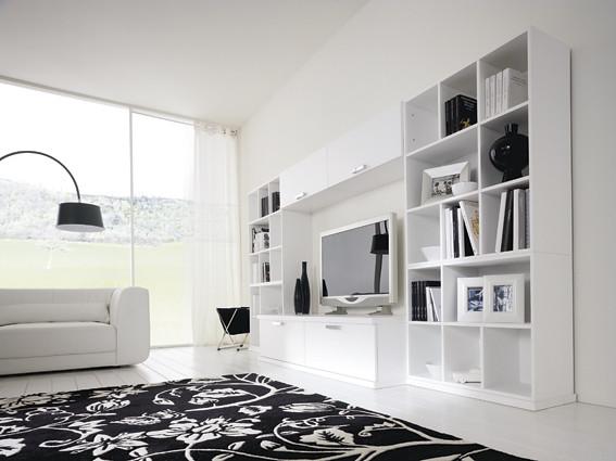 Soggiorno moderno bianco lucido  Soggiorno moderno l450