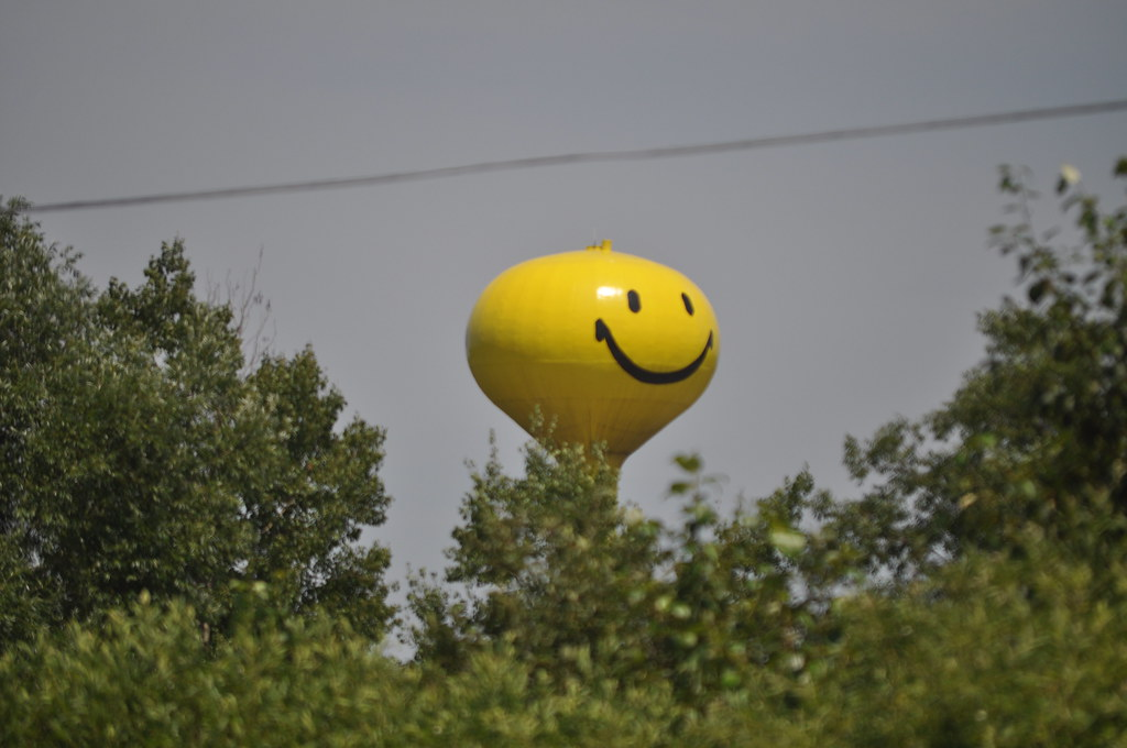 Happy Face Water Tower in West Branch Photo by Michigan Mu  Flickr