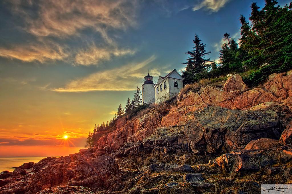 Maine Fall Foliage Wallpaper Bass Harbor Lighthouse Acadia National Park Captainkimo