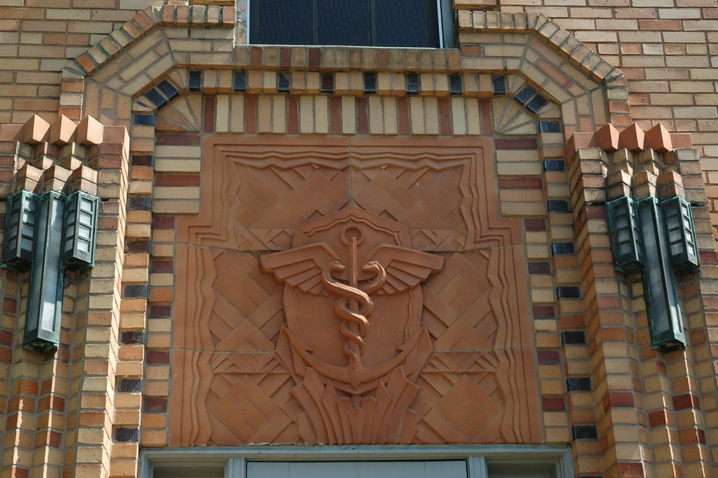 Art Deco Caduceus  Rod of Hermes insert into brick build