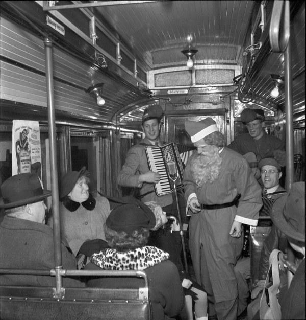 Santa Claus Tram In Stockholm 1950 Jultomte
