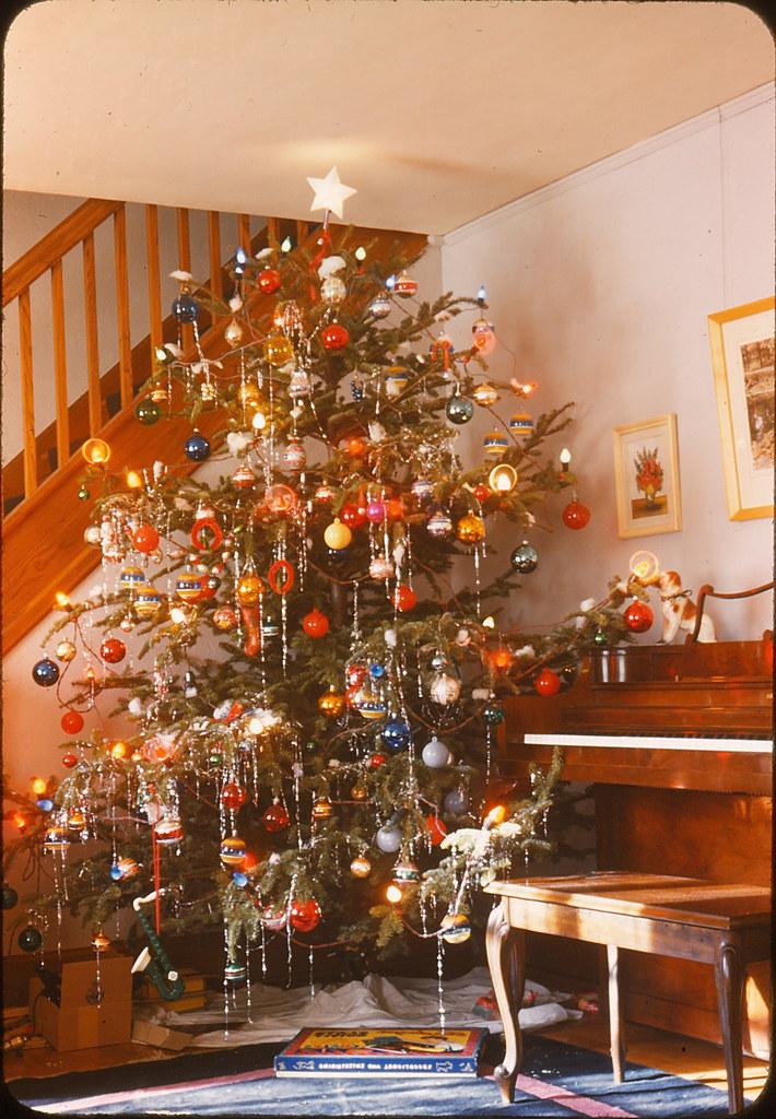 Christmas Tree Amp Piano 1946 Vintage Slide Marked 1946