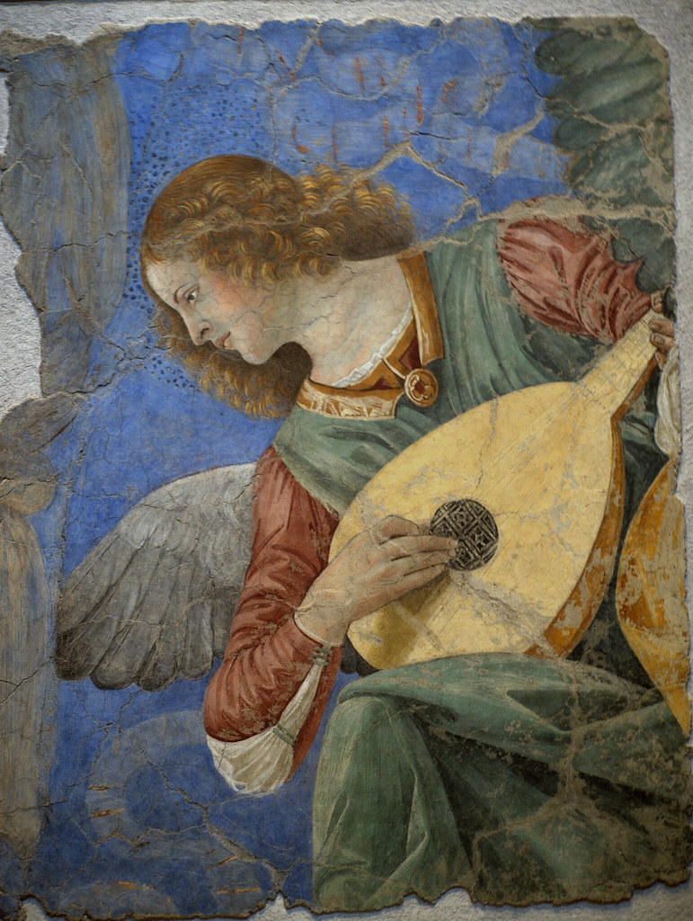 An Angel playing the Lute  The painting is by Melozzo da