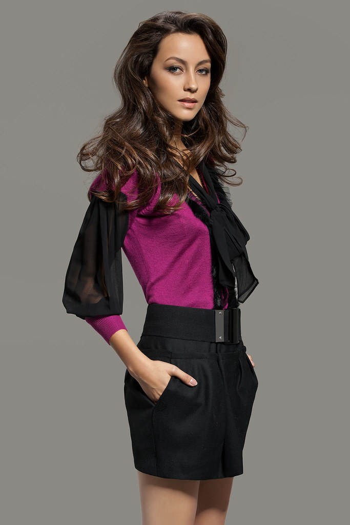 2in1 Knit Long Sleeve Pussybow Dress Purple  2in1