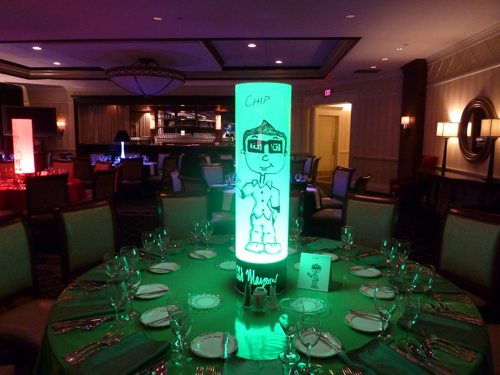 Glow Tube centerpiece with custom cartoon graphics created