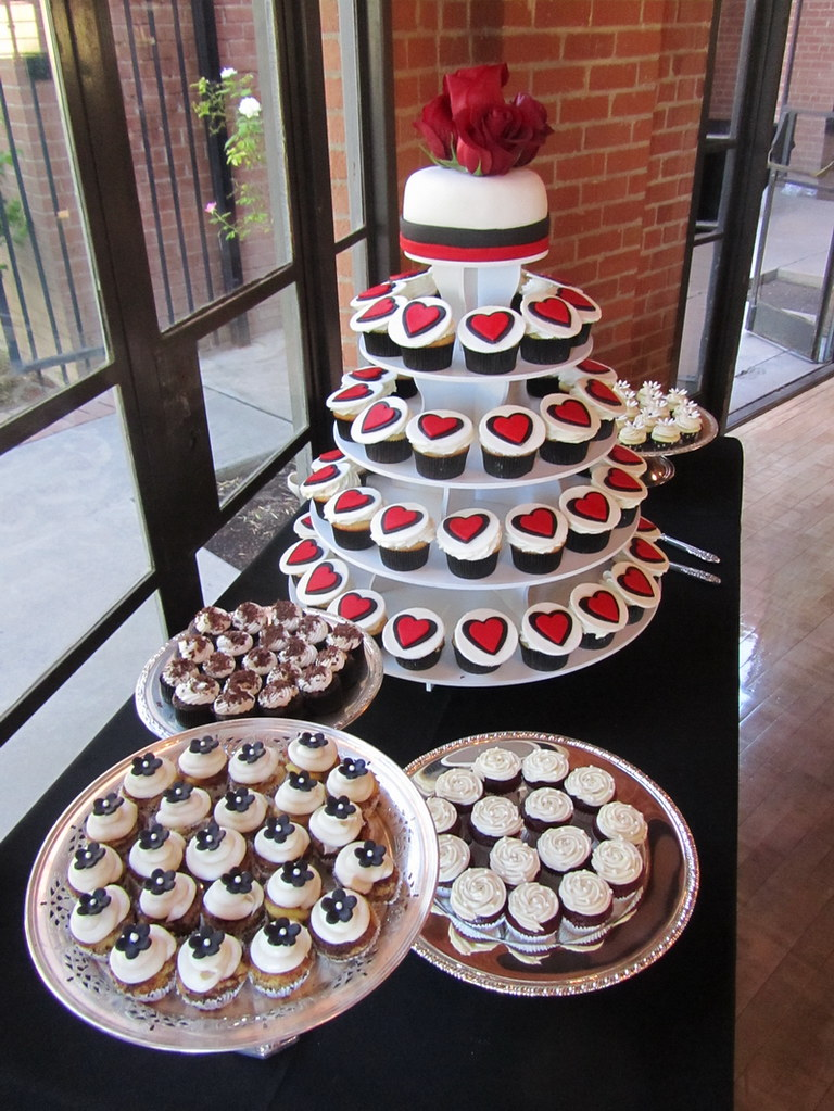 Red Black and White Wedding Cupcake Table  The tower