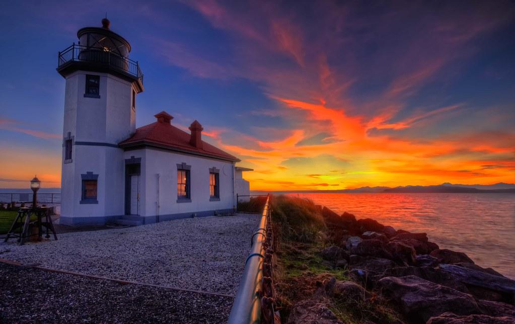 Michigan Fall Wallpaper Alki Point Lighthouse Sunset Www