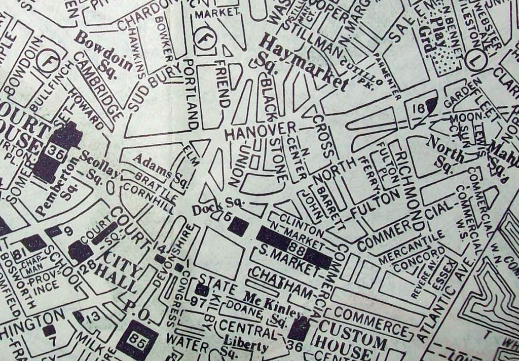 Downtown Boston MA May 1938  Map by the George Cram