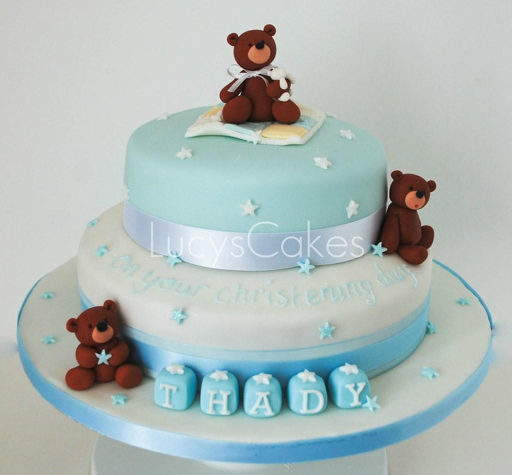 Baby Boys Christening Cake Teddy Bears