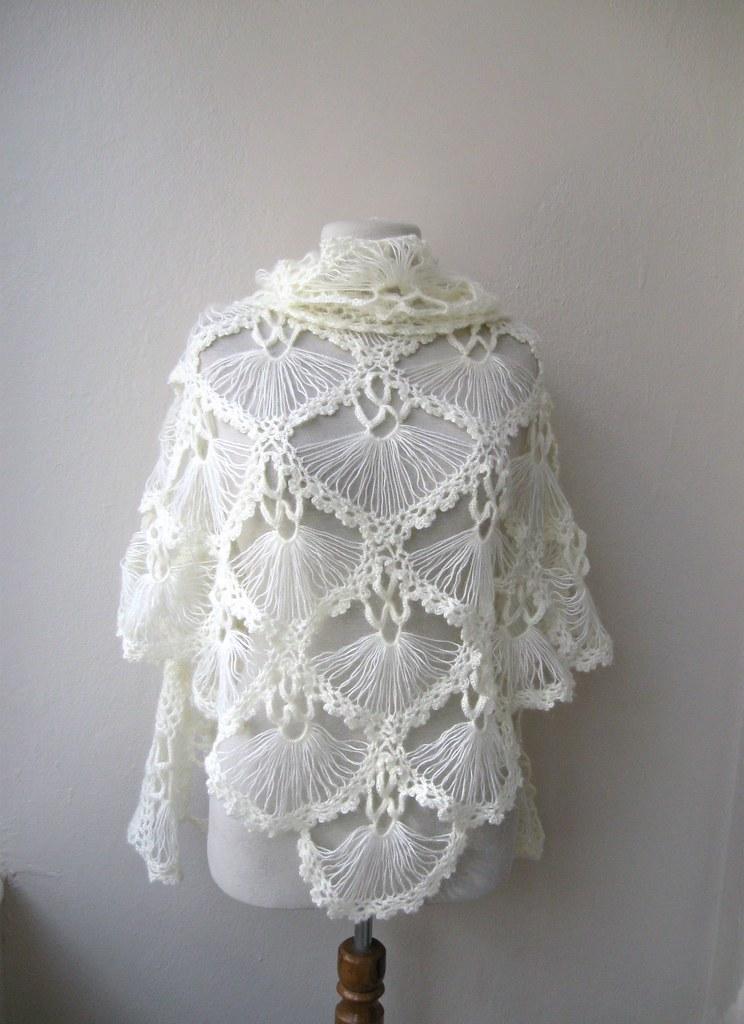 Hand crochet triangle lace shawl wrap neckwarmer mohair ya