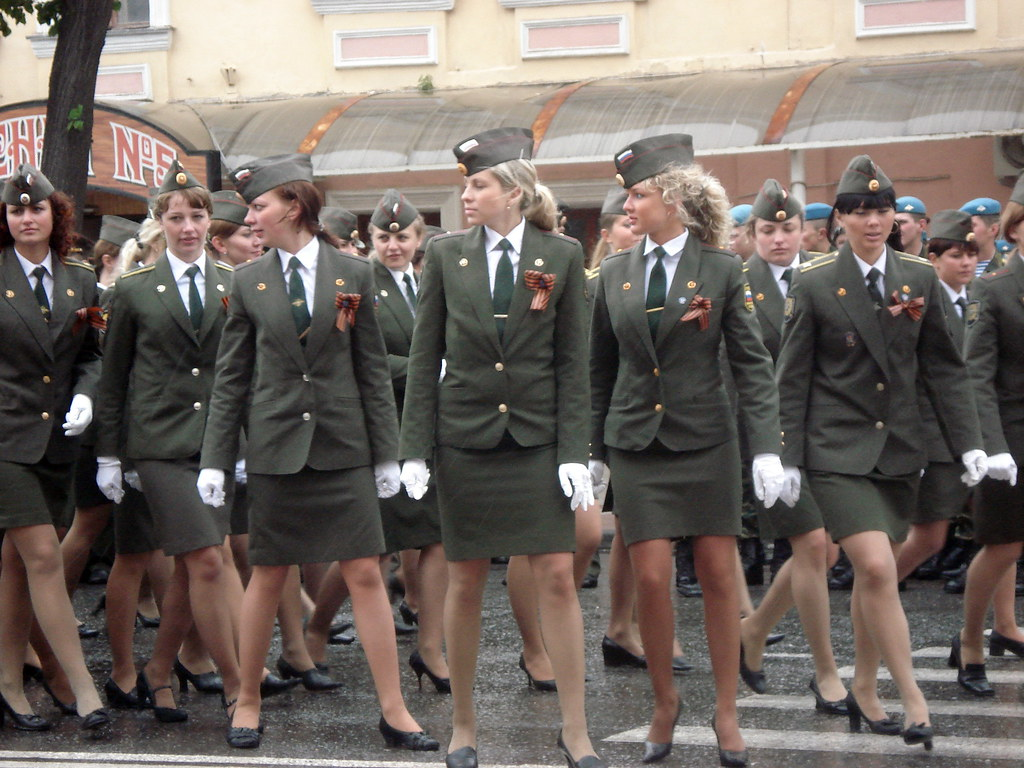 Nordic Blonde in Uniform Russian Female Army  Subject