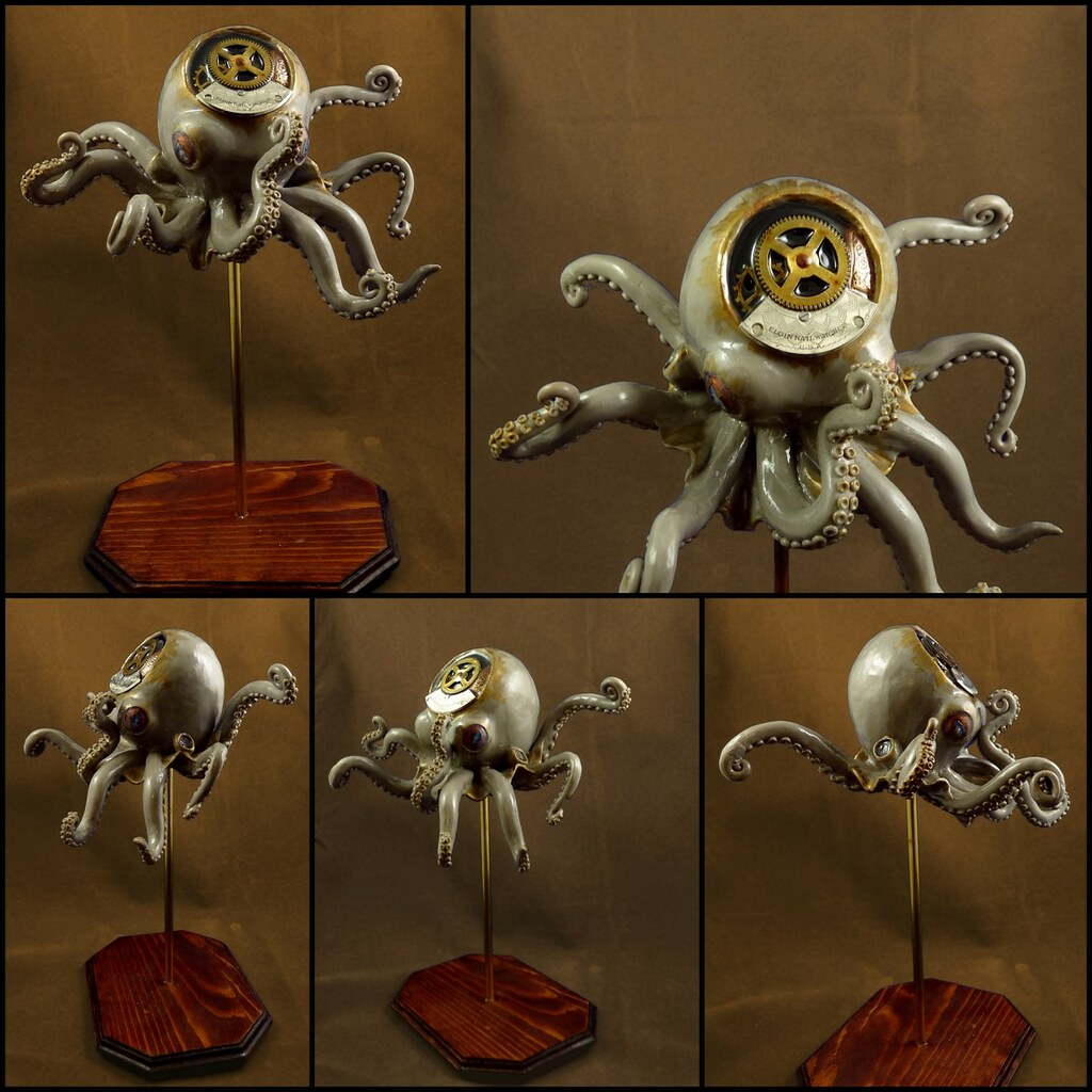 Steampunk Octopus Sculpture  One of a set of three custom