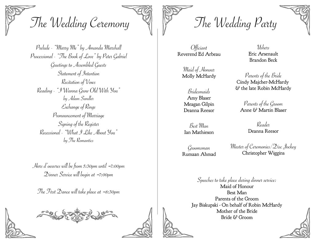 McHardy Blaser Wedding Program Inside 30 July 2011 A