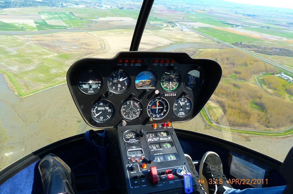 Heres a R22 cockpit flying over Padilla Bays southern sh