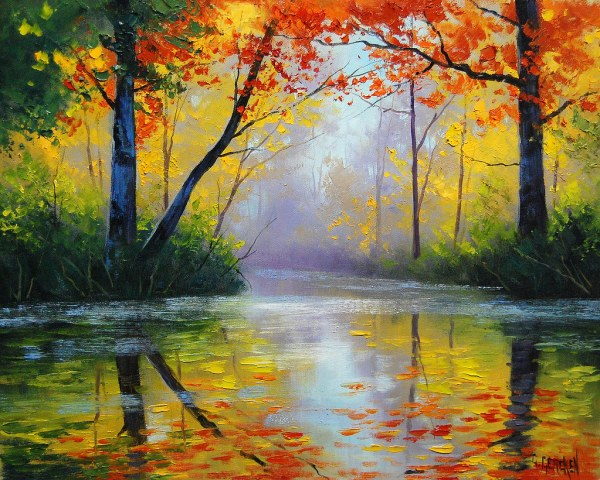 Gtolden River Painting Original Oil