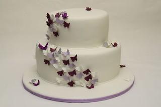 2stckige Hochzeitstorte mit Schmetterlingen  wwwsuess