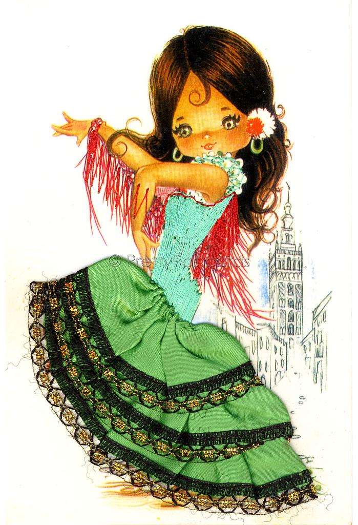 Vintage Embroidered 70s Postcard Of A Big Eyed Spanish Fla