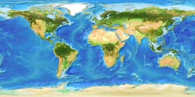 Global Bathymetry DEM With Satellite Landmass | Global ...