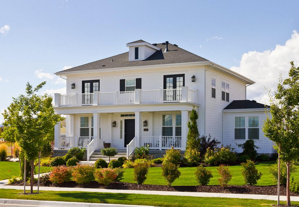 White Foursquare Luxury House  Taken in Daybreak Utahs