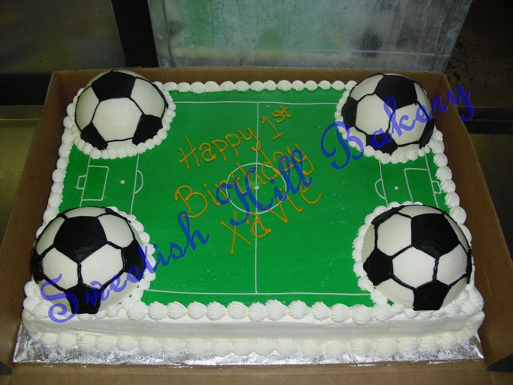 Soccer Field Birthday Cake  full sheet custom decorated cak  Flickr
