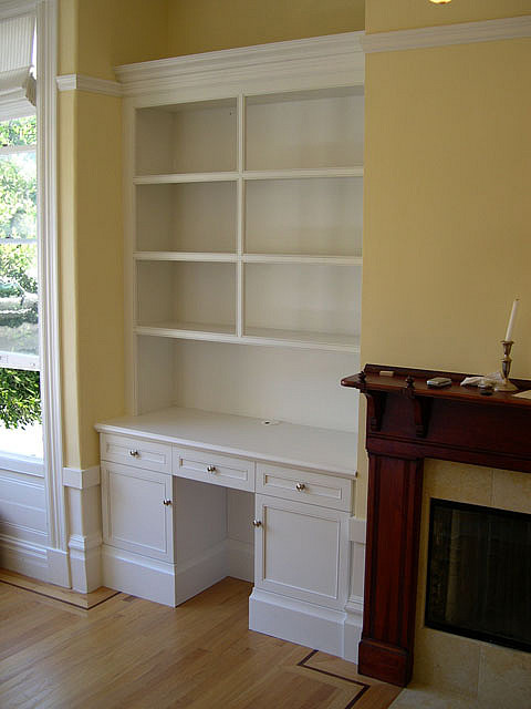 built in bookcase with desk Custom Cabinets  Trim Carpent